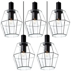 1 of the 12 Geometric Iron and Clear Glass Chandeliers by Limburg