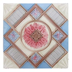 1 of the 14 Glazed Relief Tiles Produits Céramiques de la Dyle, circa 1930