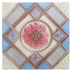 1 of the 14 Glazed Relief Tiles Produits Céramiques de la Dyle, circa 1930