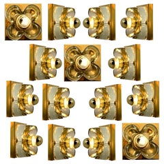 1 of the 15 of Flower Wall Lights, Brass and Glass by Sische, 1970s, Germany
