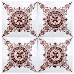 1 of the 150 Antique Dark Red/Brown Ceramic Tiles by Morialme, circa 1930s
