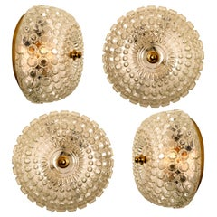 1 of the 16 Textured Glass Brass Flush Mounts/Wall Sconces by Tynell, 1960s