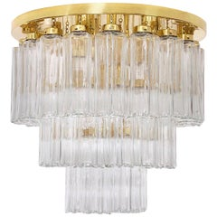 1 of the 2 Brass and Glass Flushmount Chandeliers, Limburg Glashütte, 1970