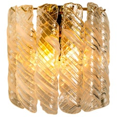 """1 of the 2 Brass White Spiral Murano Glass """"Torciglione"""" Wall Lights, 1960"""