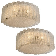 1 of the 2 Doria Clear Flush Mount Chandeliers, 1960