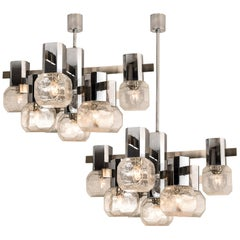 1 of the 2 Exceptional Chrome Sputnik Chandelier in the Style of Sciolari, 1970s