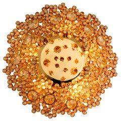1 of the 2 Gilded Brass and Crystal Glass Flush Mount Light by Palwa, 1960s