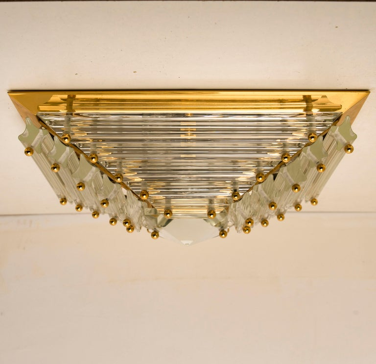 1 of the 2 Gold-Plated Piramide Venini Flush Mounts, 1970s, Italy For Sale 5