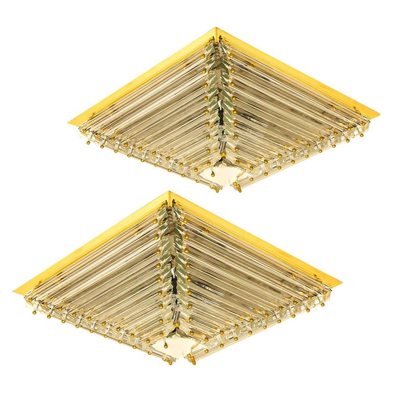 1 of the 2 Gold-Plated Piramide Venini Flush Mounts, 1970s, Italy For Sale
