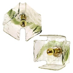 1 of the 2 Green Hand Blown Flush Mounts, Sconces from Nason, 1960s