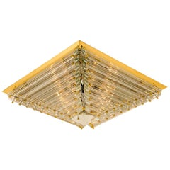 1 of the 2 Huge Gold-Plated Piramide Venini Flushmounts, 1970s, Italy