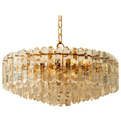 1 of the 2 Huge Kalmar Chandeliers 'Palazzo', Gilt Brass Glass, Austria, 1970