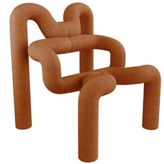 1 of the 2 Iconic Burned Orange Armchairs by Terje Ekstrom, Norway, 1980s