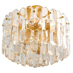 """1 of the 2  Kalmar """"Palazzo"""" Light Fixtures Brass and Glass, 1970"""