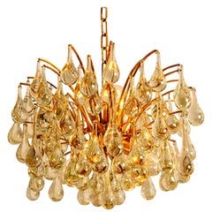 1 of the 2 Large Brass and Crystal Chandeliers, Ernst Palme, Germany, 1970s
