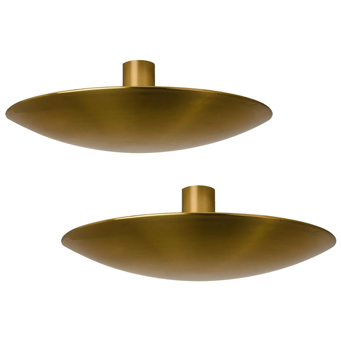 1 of the 2 Large Florian Schulz Brass Flushmount Ceiling /Wall Lights, 1970