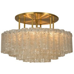 1 of the 2 Large Glass Brass Light Fixture by Doria, Germany, 1969