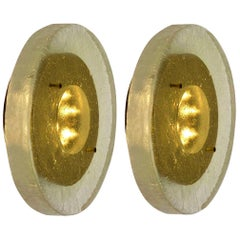 1 of the 2 of Fused Bull's-Eye Glass and Brass Wall Lights or Flushmounts