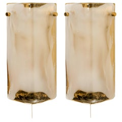 1 of the 2 Pair of Brass and Hand Blown Murano Glass Wall Lights by J.T. Kalmar