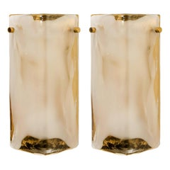 1 of the 2 Pairs of Brass and Hand Blown Murano Glass Wall Lights by J.T. Kalmar