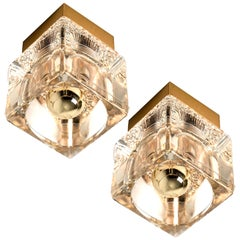 1 of the 2 Peill & Putzler Wall/Ceiling Lights Brass and Glass Cubes, 1970s