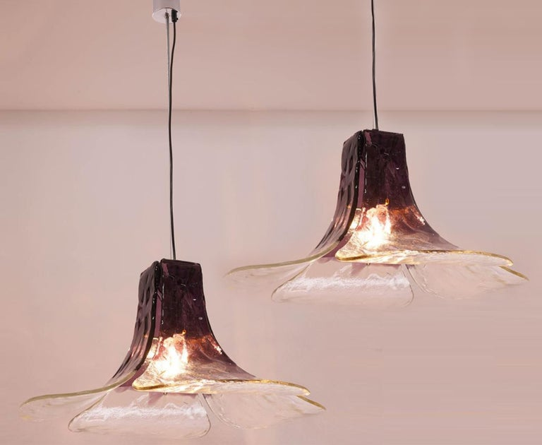 Mid-Century Modern 1 of the 2 Purple Pendant Lamps Model LS185 by Carlo Nason for Mazzega For Sale