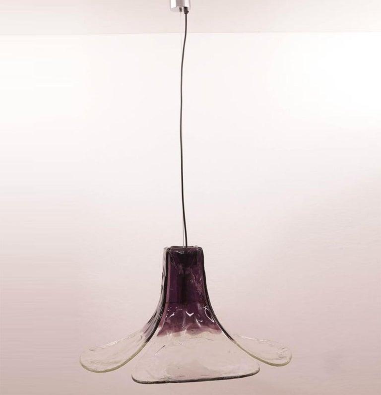 1 of the 2 Purple Pendant Lamps Model LS185 by Carlo Nason for Mazzega In Good Condition For Sale In Rijssen, NL