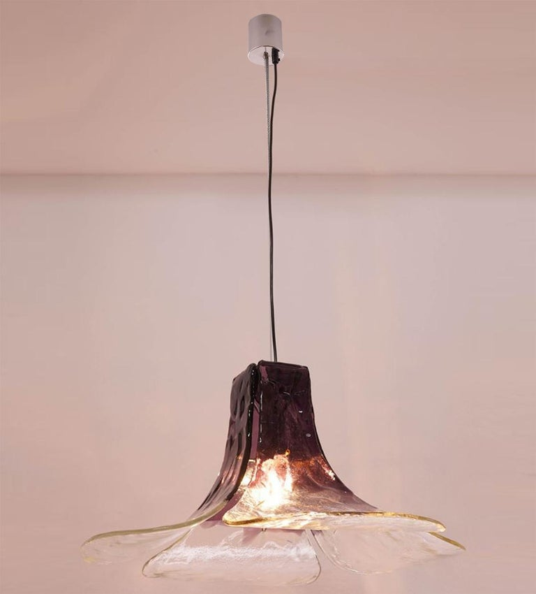 20th Century 1 of the 2 Purple Pendant Lamps Model LS185 by Carlo Nason for Mazzega For Sale