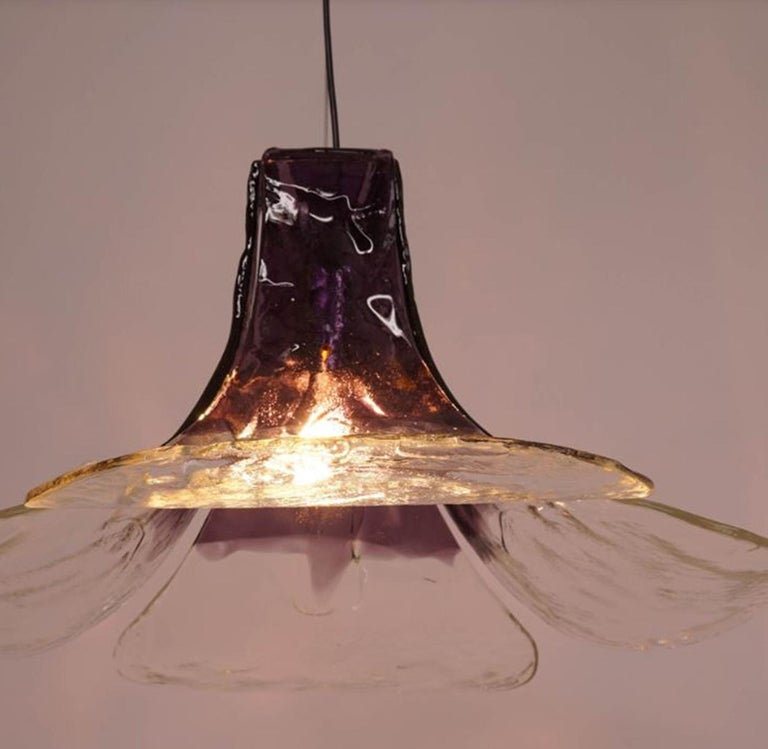 Metal 1 of the 2 Purple Pendant Lamps Model LS185 by Carlo Nason for Mazzega For Sale