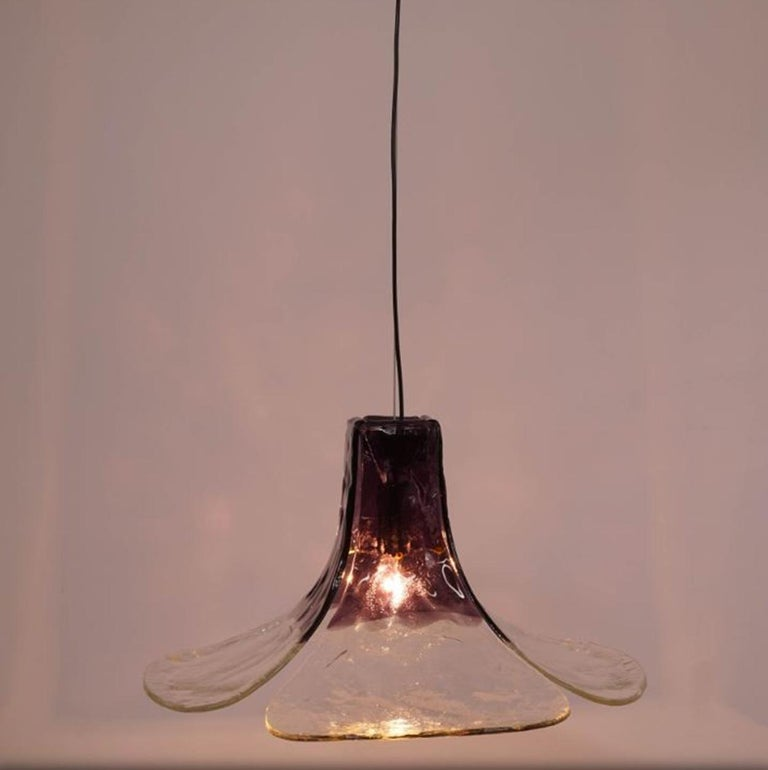 1 of the 2 Purple Pendant Lamps Model LS185 by Carlo Nason for Mazzega For Sale 2