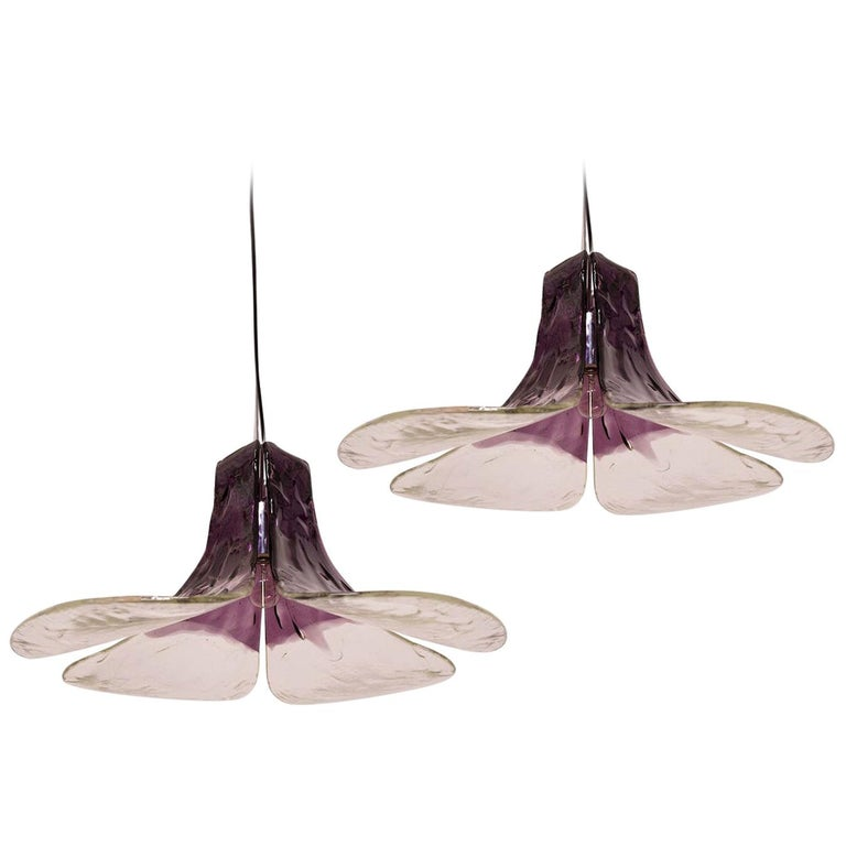 1 of the 2 Purple Pendant Lamps Model LS185 by Carlo Nason for Mazzega For Sale