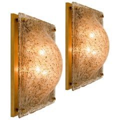 1 of the 2 Square Domed Murano Flush Mount Wall lights with Smokey Glass Brass