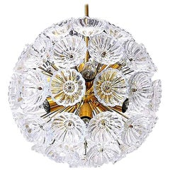 1 of the 2 Starburst Sputnik Chandelier Glass Flower, 1960s, Germany
