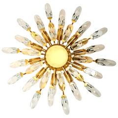 1 of the 2 Stilkronen Crystal and Gilded Brass Italian Flushmounts/ Sconces