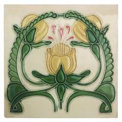 1 of the 20 Glazed Art Nouveau Relief Tiles, Maison Helman, Céramiques d'Art