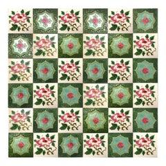 1 of the 36 Mixed Glazed Tiles Rose By S.A. Produits Ceramiques de la Dyle, 1930