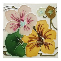 1 of the 22 Unique Antique Relief Tiles with Flower, France, circa 1900