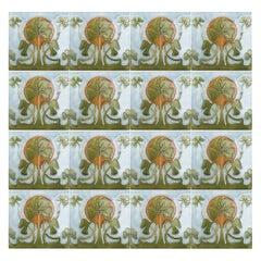 1 of the 24 Glazed Art Nouveau Relief Tiles, 1920s