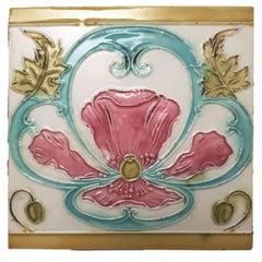1 of the 28 Pieces Unique Jugendstil Antique Relief Tiles, Le Claive, circa 1900