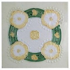 1 of the 28 Unique Art Nouveau Relief Tiles Manufactured by NV De Dijle, 1930