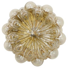 1 of the 3 Amber Glass Wall Lights Sconces by Helena Tynell for Limburg