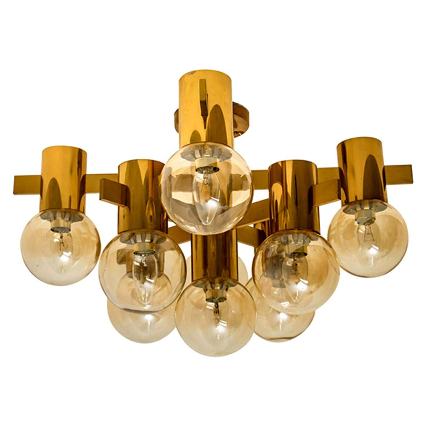 1 of the 3 Brass and Glass Light Fixtures in the Style of Jakobsson, 1960s