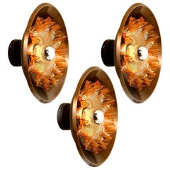 1 of the 3 Dark Brass and Glass Wall Sconces RAAK, the Netherlands, 1970
