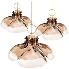 1 of the 3 Large Four-Panel Glass Flower Chandeliers by Kalmar, Austria, 1970