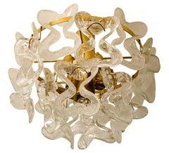 "1 of the 3 Massive J.T. Kalmar ""Catena"" Murano Glass Flush Mount Chandeliers"