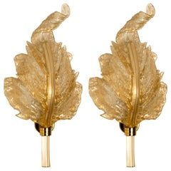 1 of the 3 Pair of Large Wall Sconces Barovier & Toso Gold Glass Murano, Italy