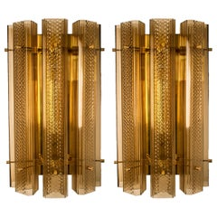 1 of the 3 Pairs of Extra Large Murano Wall Sconces/Wall Lights Glass and Brass