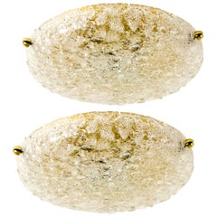 1 of the 3 Textured Bubble Glass Flushmount Lights by Hillebrand, 1960