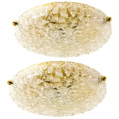 1 of the 3 Textured Bubble Glass Flush Mount Lights by Hillebrand, 1960
