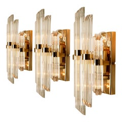 1 of the 3 Venini Style Murano Glass and Gold-Plated Sconces, Italy